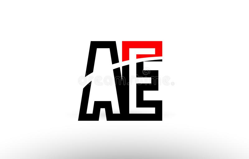 Black white alphabet letter ae a e logo icon design. Black white and red alphabet letter ae a e logo combination design suitable for a company or business stock illustration