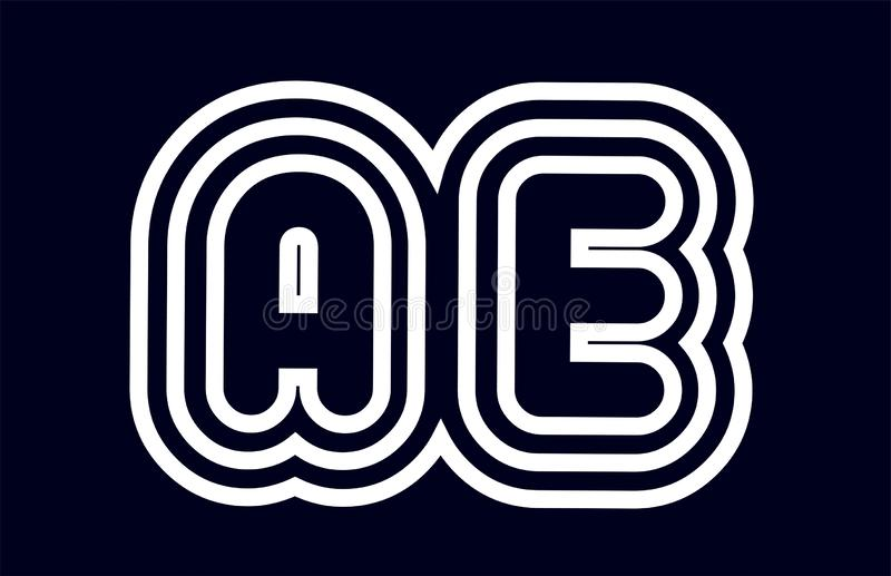 Black and white alphabet letter combination ae a e logo company. Black and white alphabet letter ae a e logo combination design suitable for a company or royalty free illustration