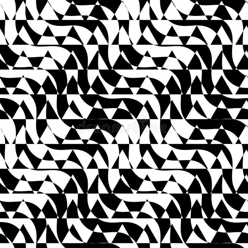 Black and white alternating diagonal ways triangle cut stock illustration