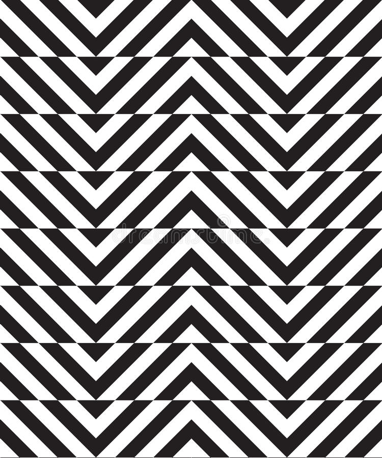 Black and white alternating slim chevron with horizontal cut stock illustration