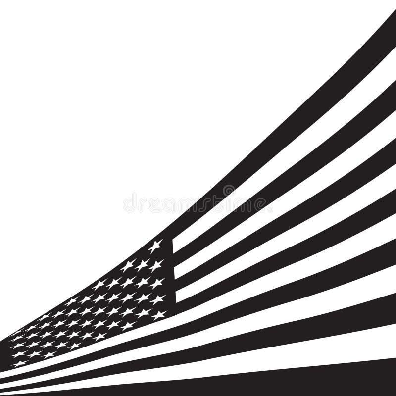 Black and white American flag. vector illustration