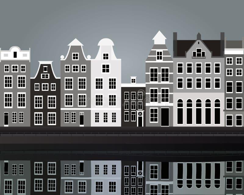Black and white Amsterdam. Vector illustration of black and white Amsterdam royalty free illustration