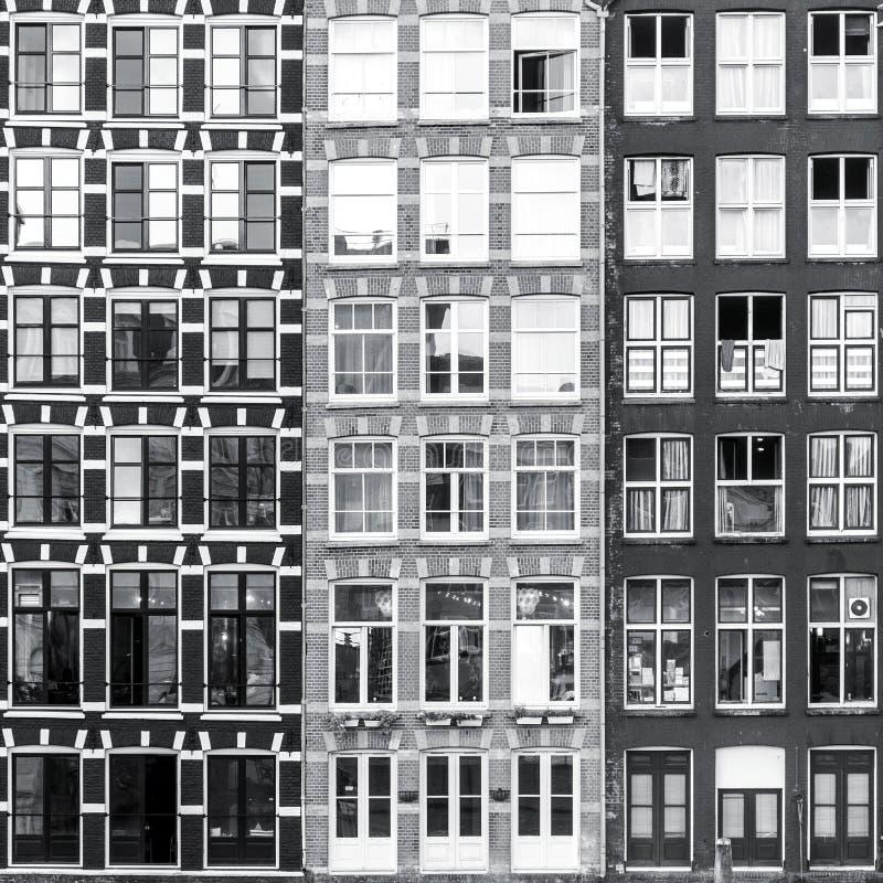 Black and white Amsterdam windows background stock photo