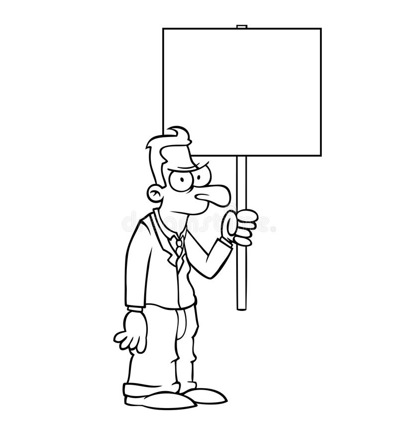 Black and white angry business man with sign
