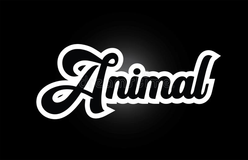 Black and white Animal hand written word text for typography logo icon design. Animal hand written word text for typography iocn design in black and white color stock illustration