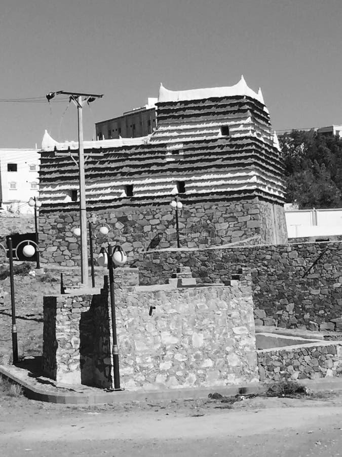 Black&white antigo da casa árabe velha fotografia de stock