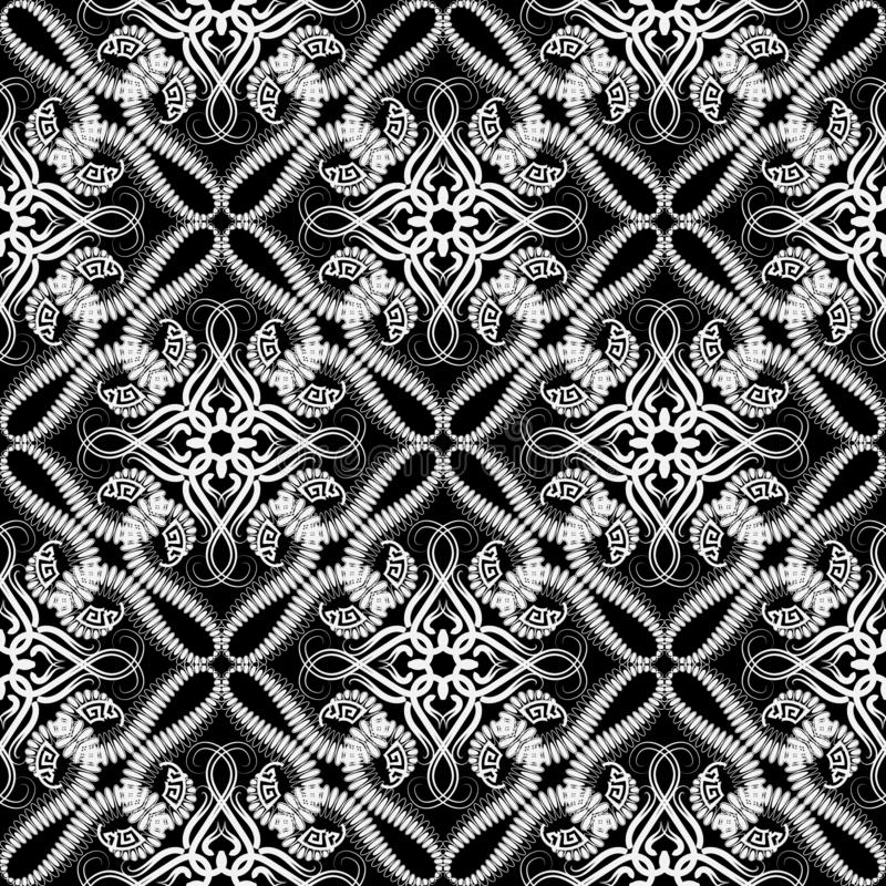 Black and white arabesque seamless pattern. Vector ornamental arabic style background. Greek key meanders. Repeat decorative lace. Backdrop. Hand drawn floral stock illustration
