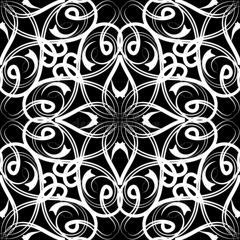 Black and white arabesque seamless pattern. Vector ornamental arabic style background. Repeat decorative  backdrop. Hand drawn. Floral vintage Damask ornament royalty free illustration