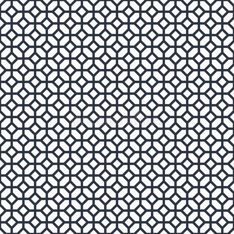 Black and white arabic vector background. Monochrome islamic seamless pattern. Tradition fence geometric ornament royalty free illustration