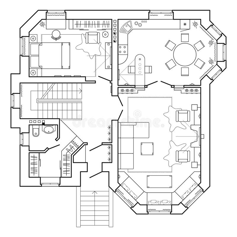 Black and White architectural plan of a house. Layout of the apartment with the furniture in the drawing view. With kitchen and toilet, living room and bedroom stock illustration