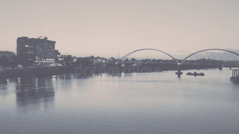 Black and White Arkansas River Bank stock photo
