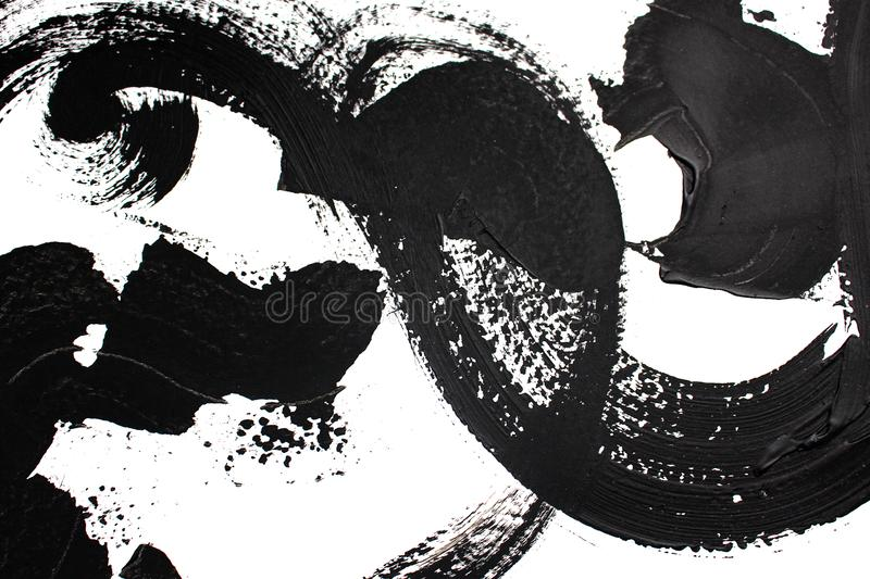 Black and white art/ Abstract art background. Acrylic painting on canvas. Color texture. Fragment of artwork. Brushstrokes. Black and white art. Hand drawn stock illustration