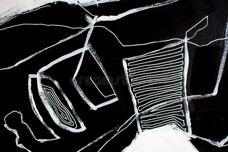 Black and white art/ Abstract art background. Acrylic painting on canvas. Color texture. Fragment of artwork. Brushstrokes. Black and white art. Hand drawn vector illustration