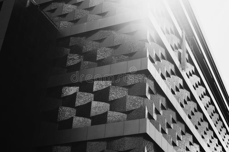 Creative black and white photography. Black and white art photography monochrome, clouds in the sky. Tall buildings in a large modern city stock illustration