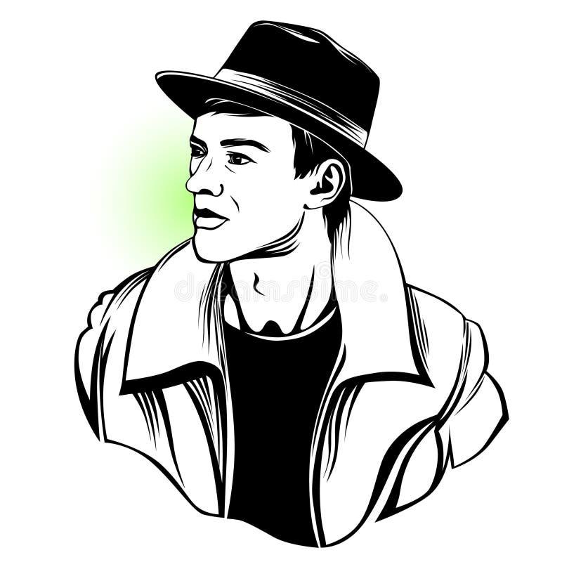 Black and white artwork of man i hat. vector illustration