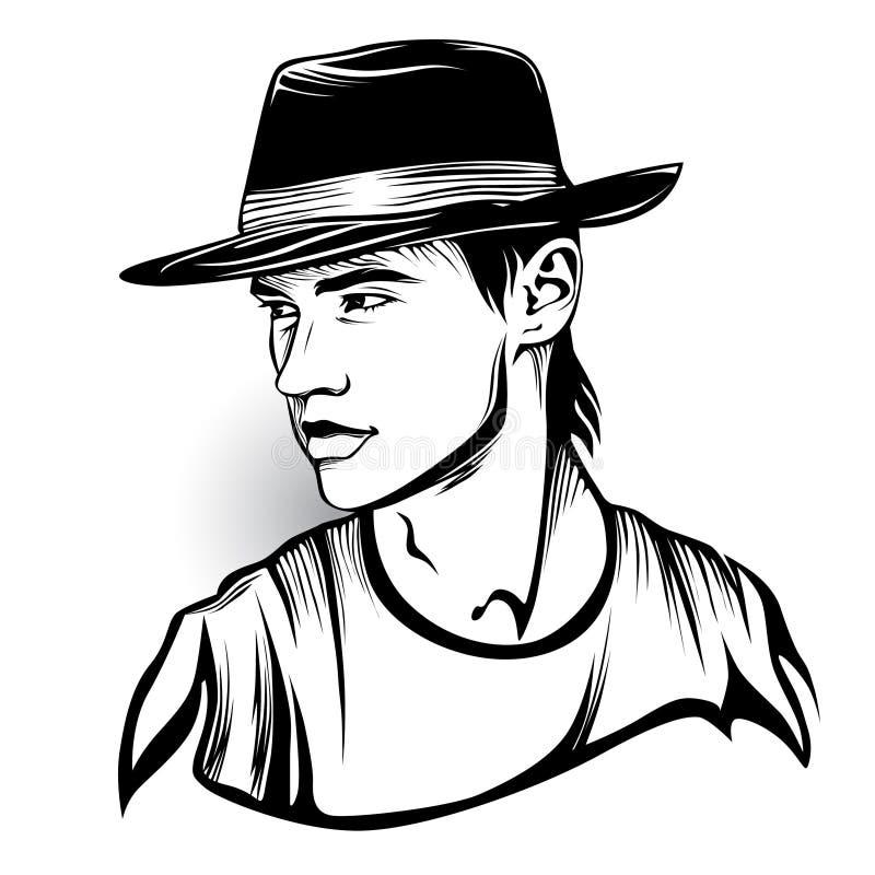 Black and white artwork of man i hat. royalty free illustration