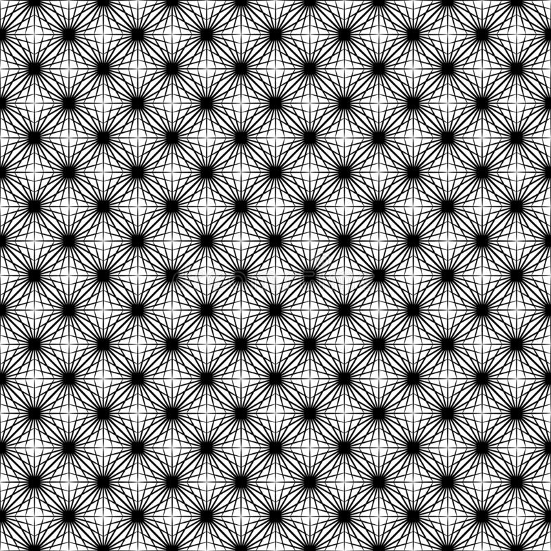 Black and White Asanoha Web Seamless Pattern. Black and white japanese asanoha stars texture pattern background. Seamless Tile. Png file has white invisible and stock illustration