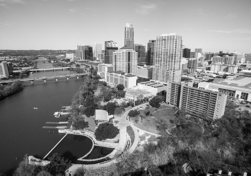 Black and white Austin Texas USA aerial drone view of the Skyline Cityscape stock photography