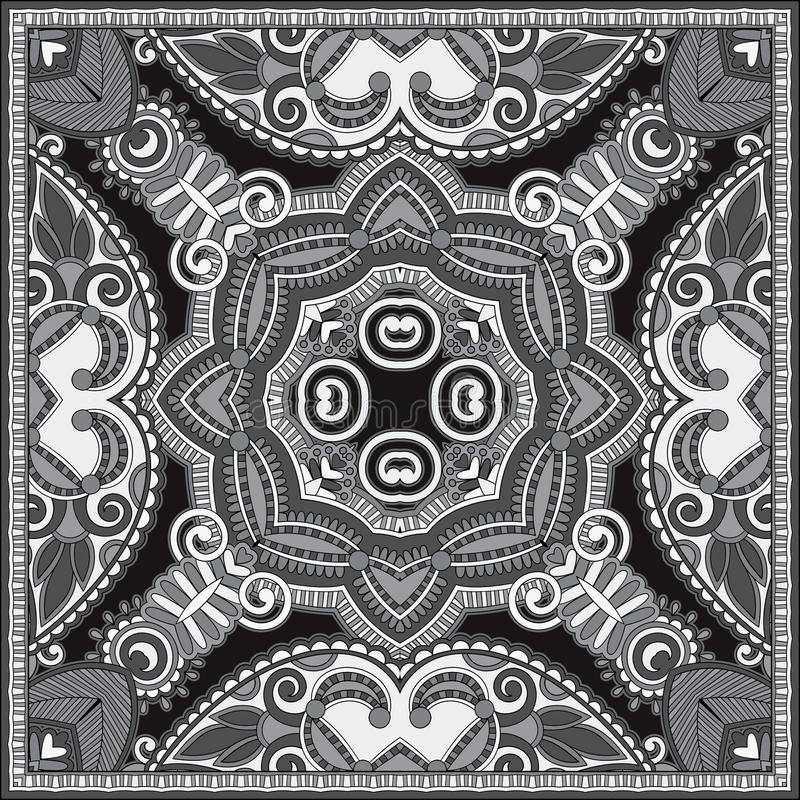 Black and white authentic silk neck scarf or kerchief square pat. Tern design in ukrainian style for print on fabric, vector illustration vector illustration