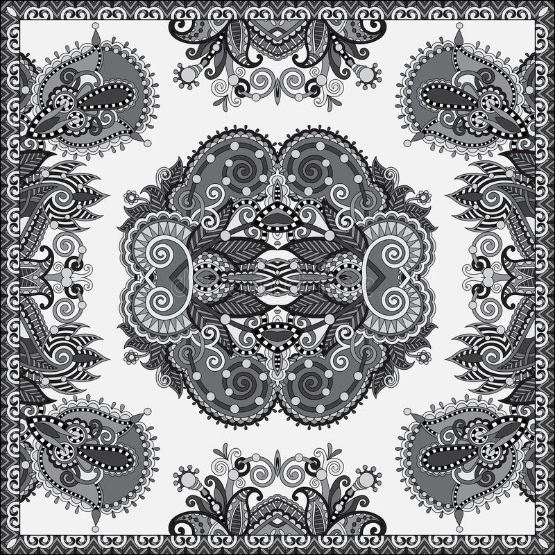 Black and white authentic silk neck scarf or kerchief square pat. Tern design in ukrainian style for print on fabric, vector illustration royalty free illustration