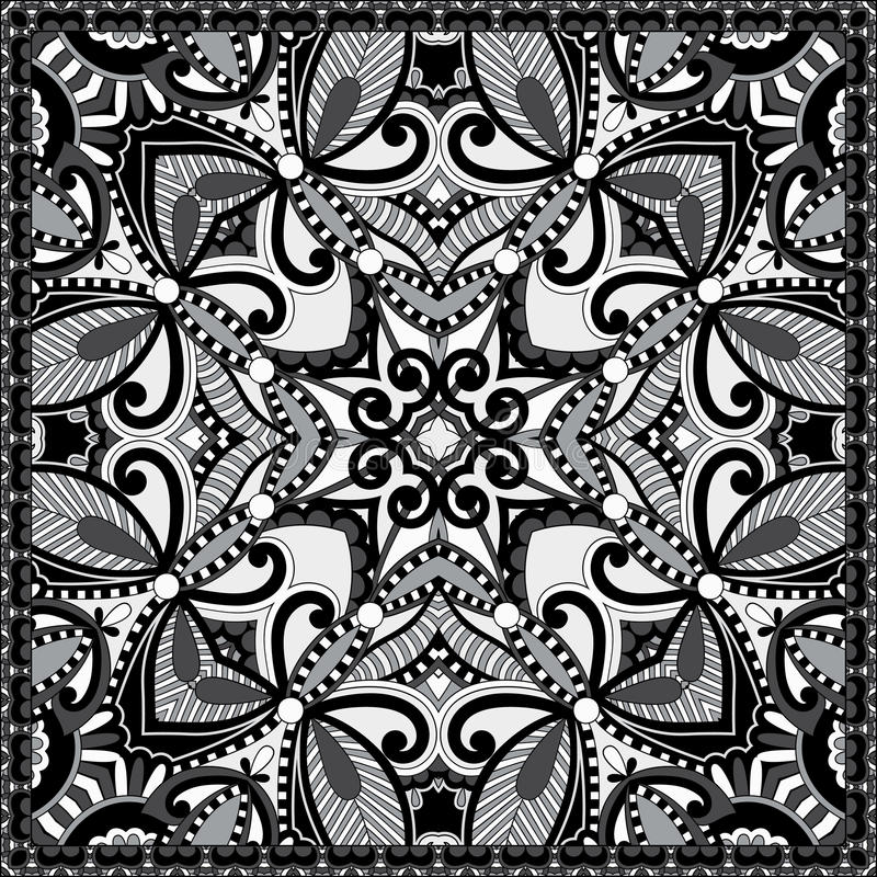 Black and white authentic silk neck scarf or kerchief square pat. Tern design in ukrainian style for print on fabric, vector illustration stock illustration