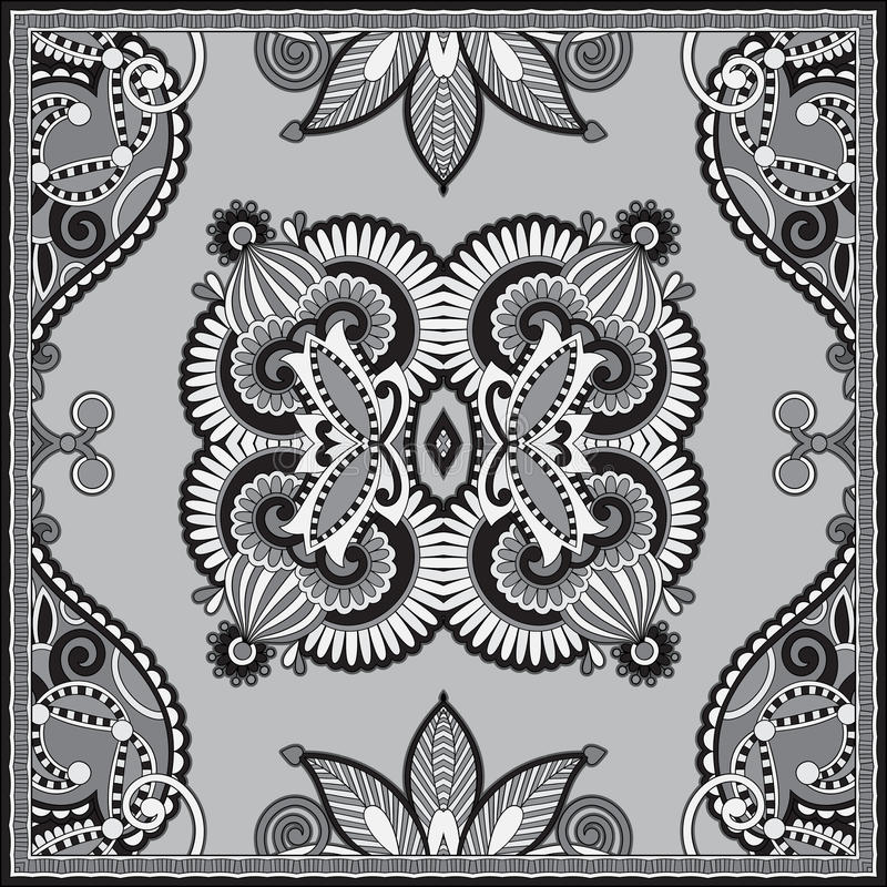 Black and white authentic silk neck scarf or kerchief square pattern. Design in ukrainian style for print on fabric, vector illustration stock illustration
