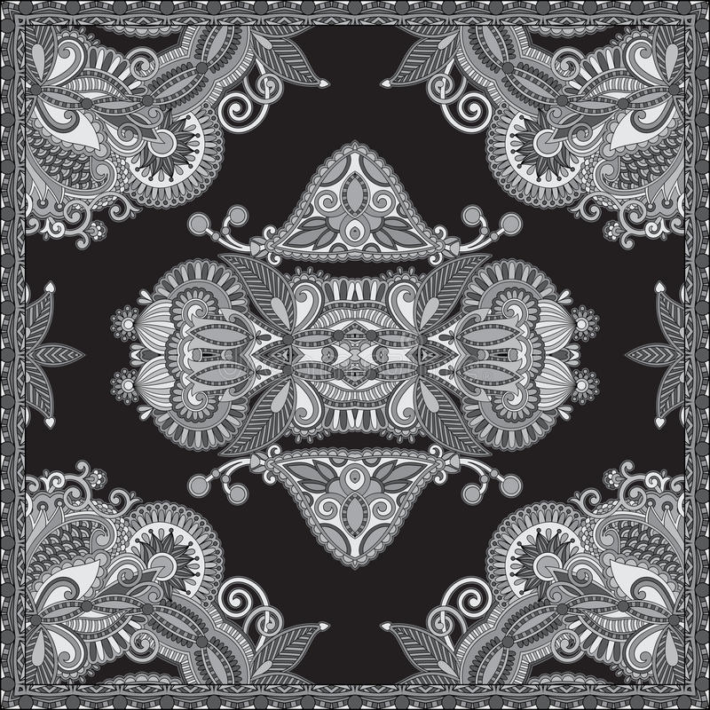 Black and white authentic silk neck scarf. Or kerchief square pattern design in ukrainian style for print on fabric, vector illustration stock illustration