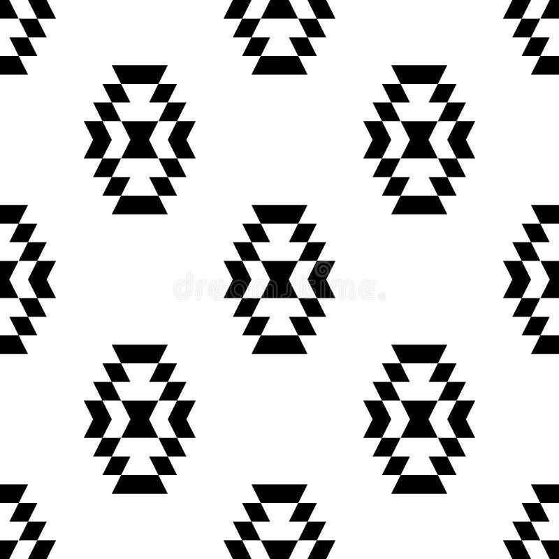 Black and white aztec ornament geometric ethnic seamless pattern, royalty free illustration