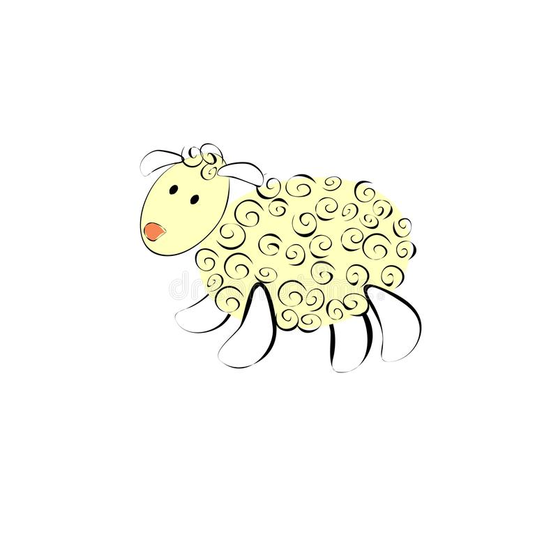 Black and white baby lamb very cute vector illustration