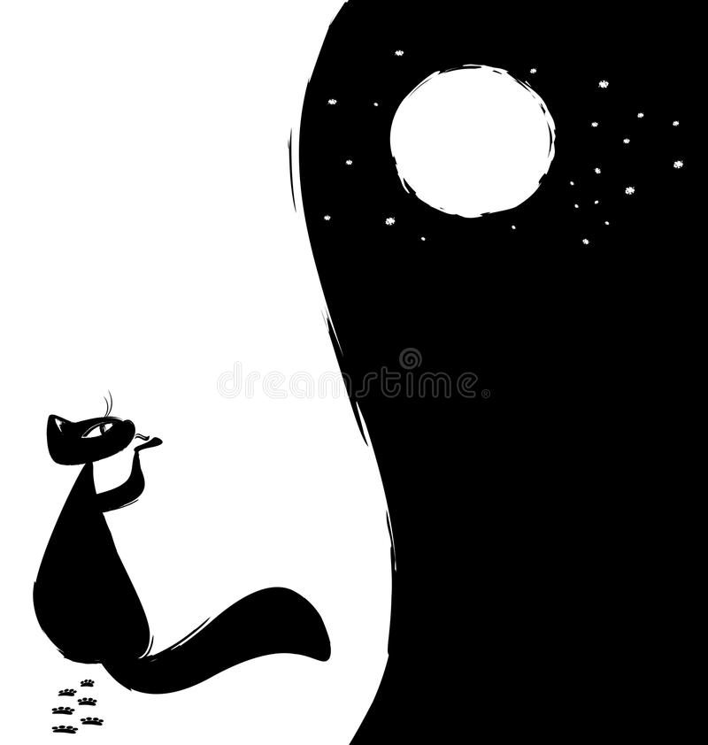 black-white background cat and moon vector illustration