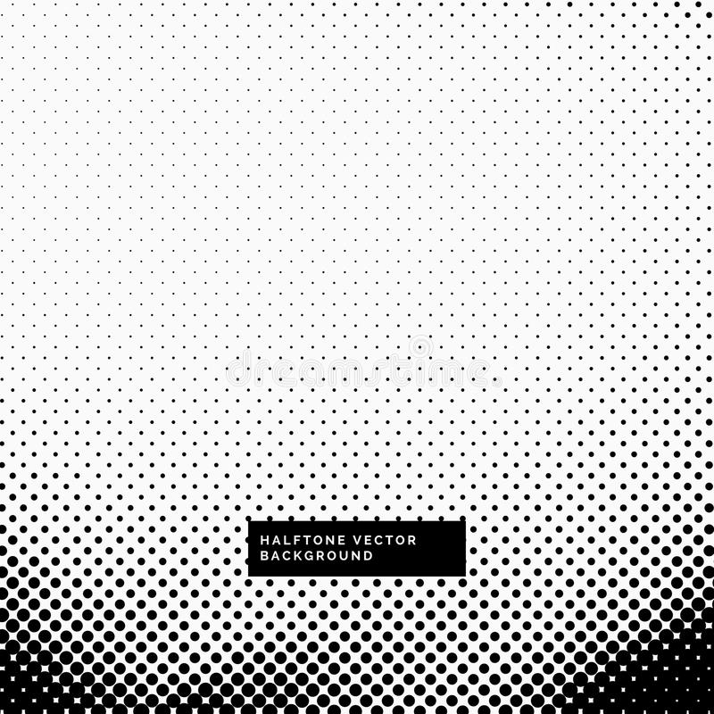 Black and white background with halftone dots stock illustration
