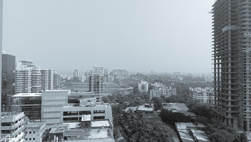 Black and white background of Mumbai which is the dream and amazing city of India stock images