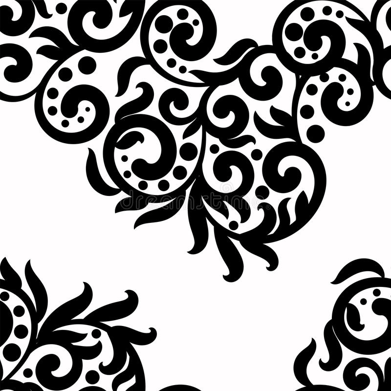 Black and white background, vector lace texture ornament, wavy seamless pattern monochrome swirls ,dots,leaves. Floral. Black and white background, vector lace royalty free illustration