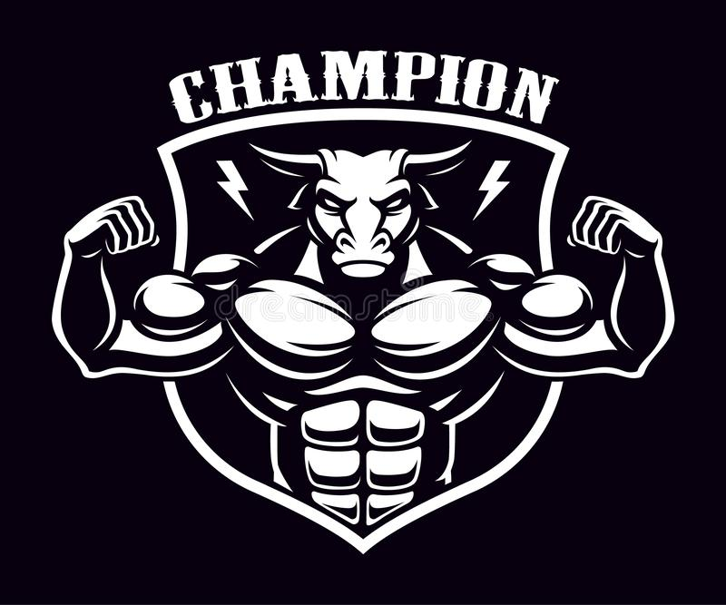 Black and white badge of a bull bodybuilder . Black and white badge of a bull bodybuilder on the dark background