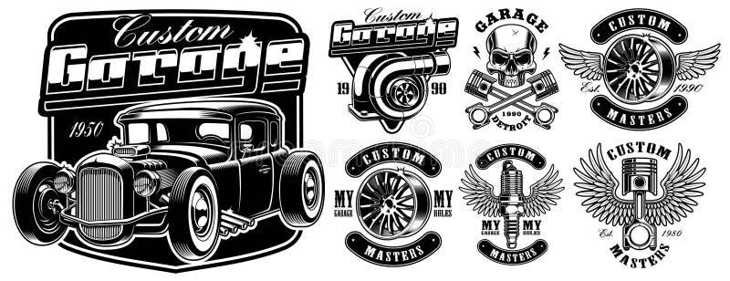 Black and white badges of Car service stock illustration