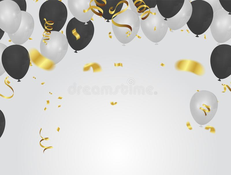 Black White balloons, confetti concept design background. Celebration Vector illustration vector illustration