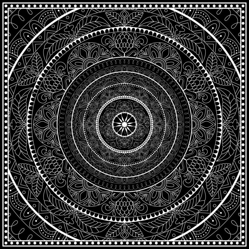 Black and white bandana print with mandala ornament.   Kerchief square pattern design. Design for silk neck scarf, hanky royalty free illustration