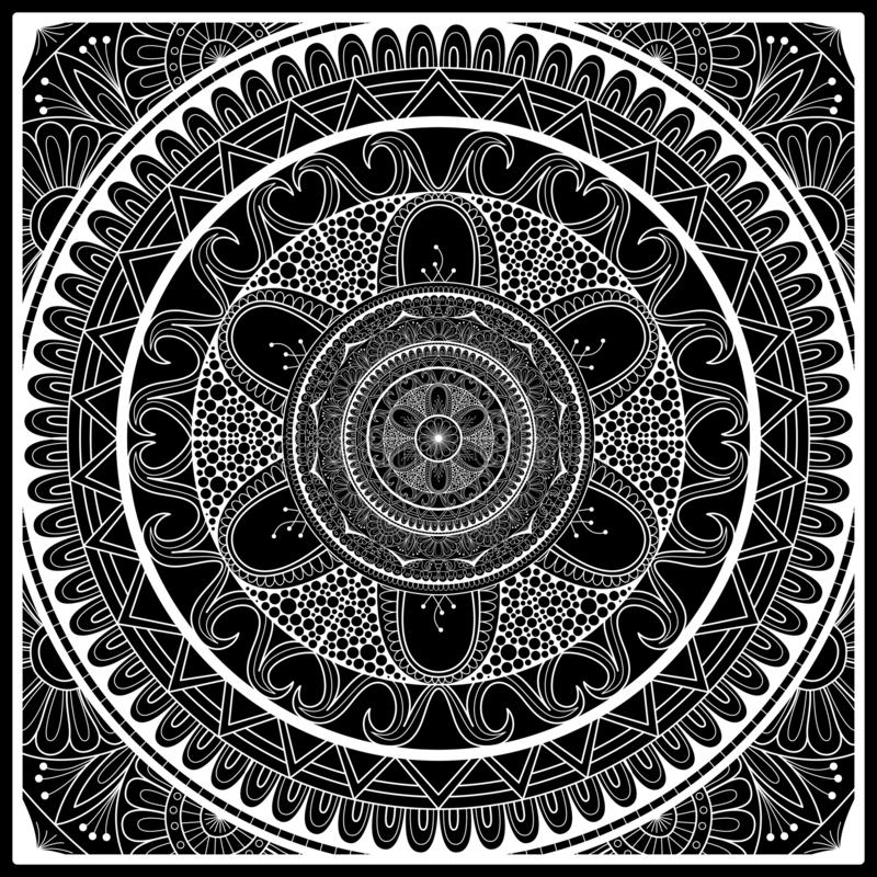 Black and white bandana print with mandala ornament.   Kerchief square pattern design. Design for silk neck scarf, hanky stock illustration