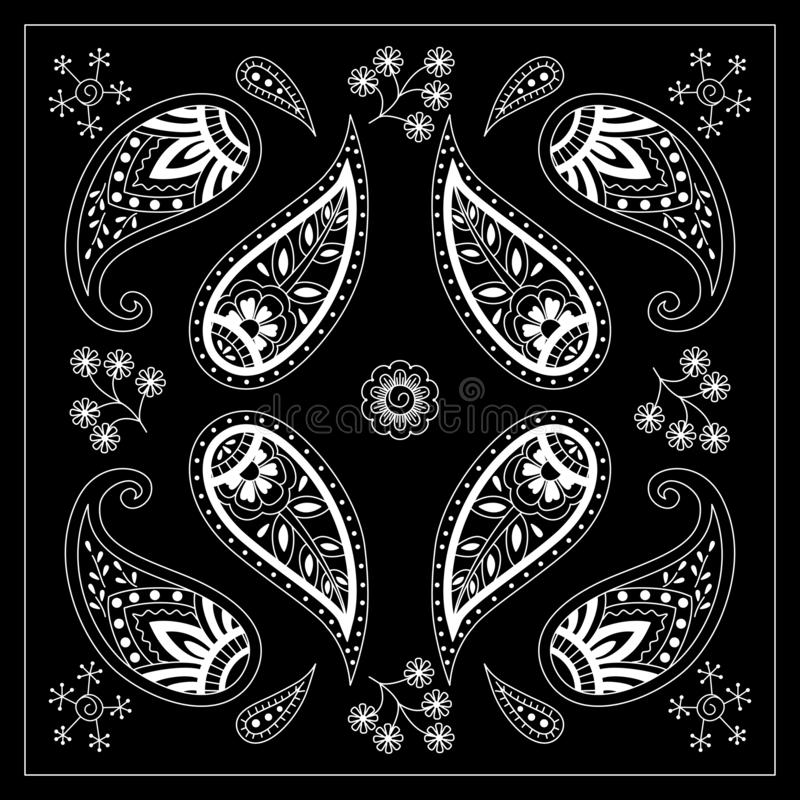Black and white bandana print with paisley. Square pattern design for pillow, carpet, rug. Design for silk neck scarf, kerchief, hanky vector illustration