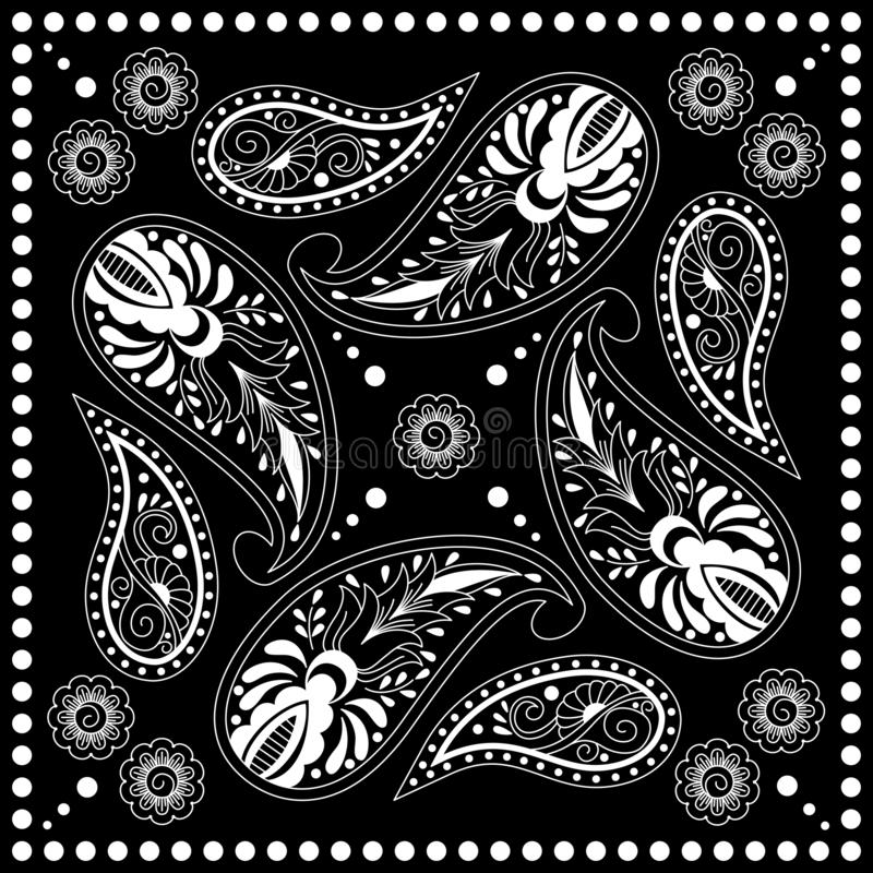 Black and white bandana print with paisley. Square pattern design for pillow, carpet, rug. Design for silk neck scarf, kerchief, hanky royalty free illustration