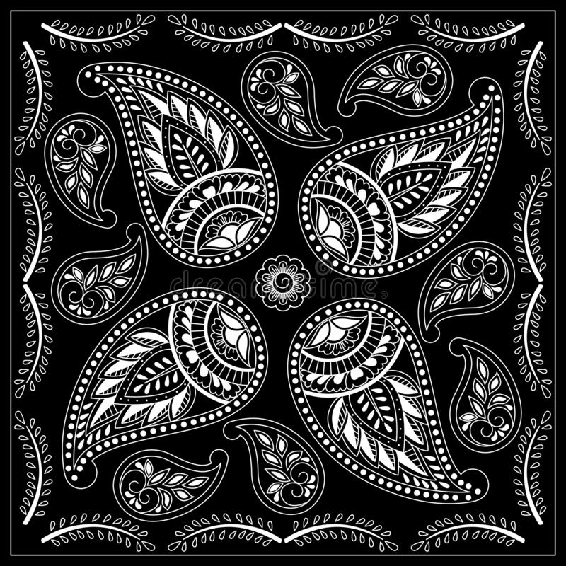 Black and white bandana print with paisley. Square pattern design for pillow, carpet, rug. Design for silk neck scarf, kerchief, hanky stock illustration