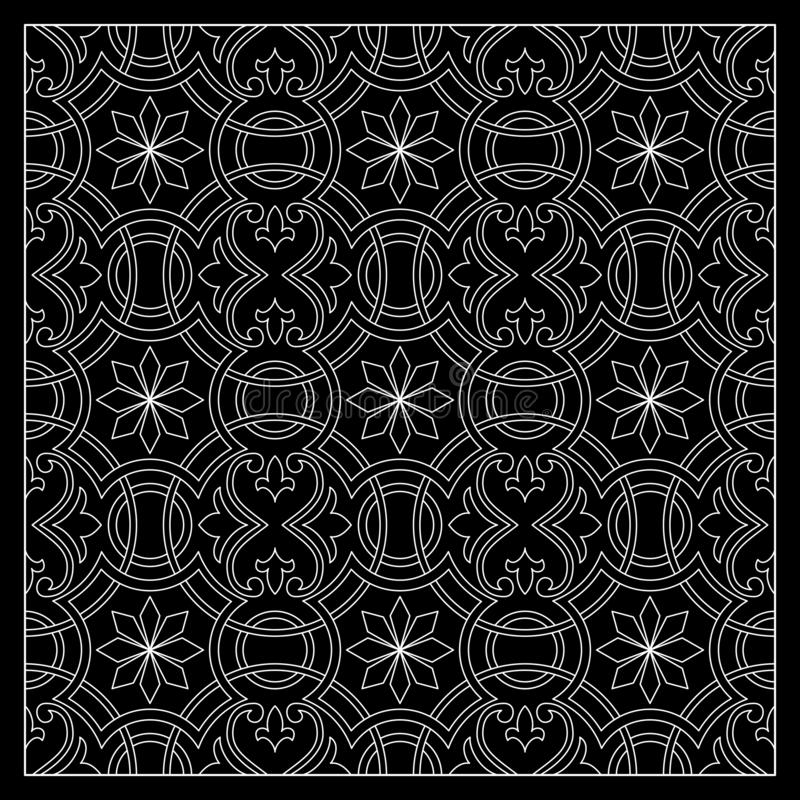 Black and White bandana print with tiling pattern maroccan style.Square pattern design for pillow, carpet, rug. Design for silk neck scarf, kerchief, hanky vector illustration