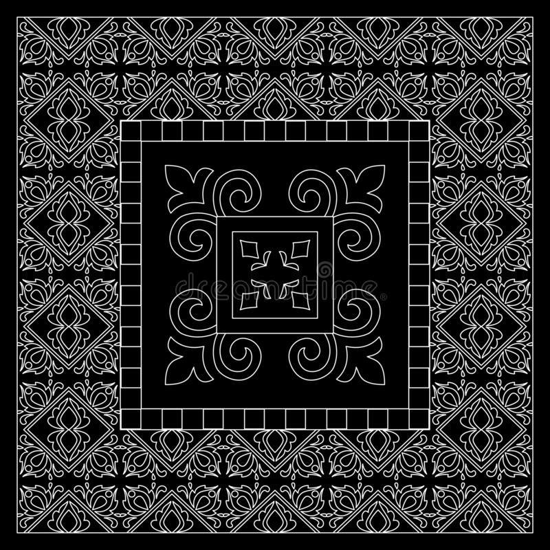 Black and White bandana print with tiling pattern maroccan style.Square pattern design for pillow, carpet, rug. Design for silk neck scarf, kerchief, hanky stock illustration