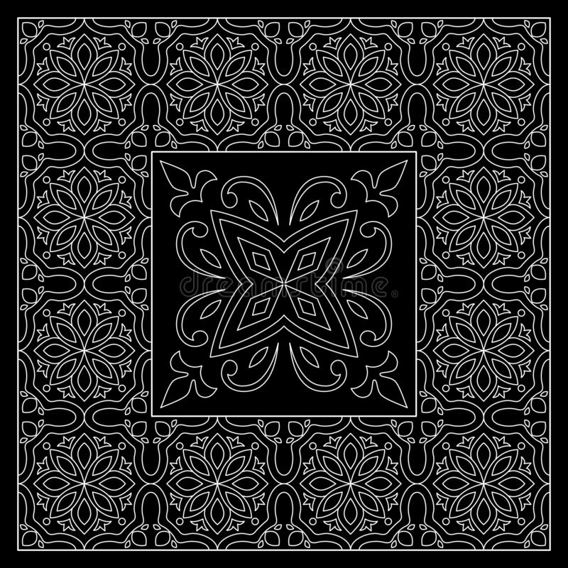 Black and White bandana print with tiling pattern maroccan style.Square pattern design for pillow, carpet, rug. Design for silk neck scarf, kerchief, hanky royalty free illustration