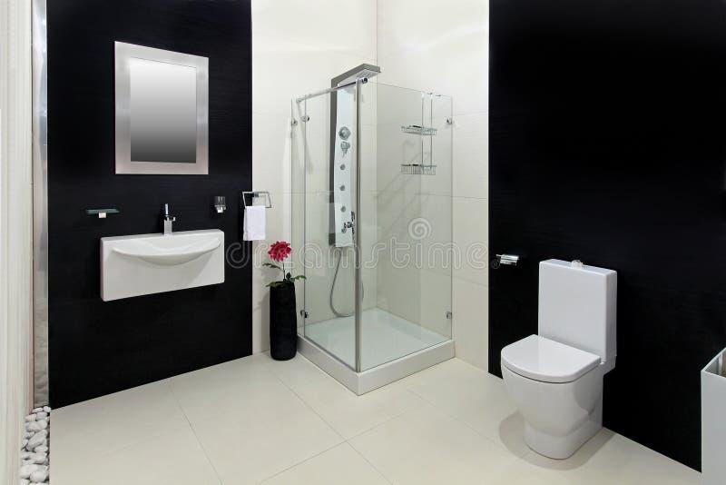 Black white bathroom stock photos