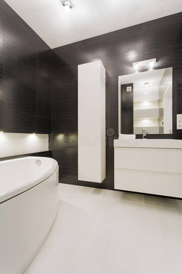 Black and white bathroom stock images