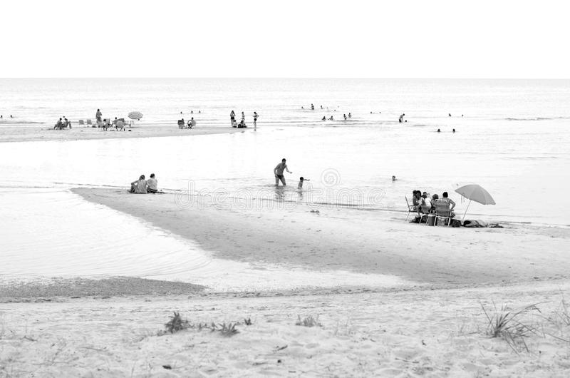 Black and White beach landscape stock images