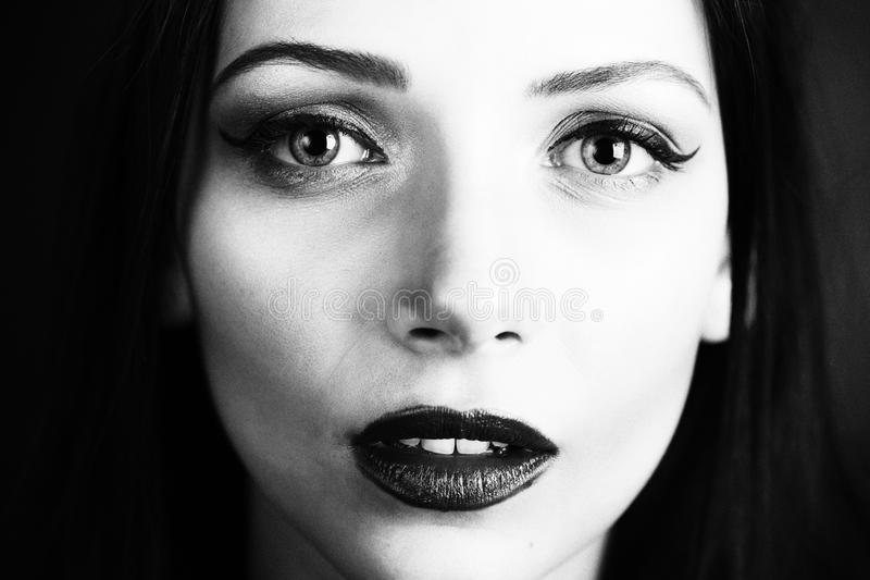 Black and white beauty. Black and white portrait of woman beauty stock photos