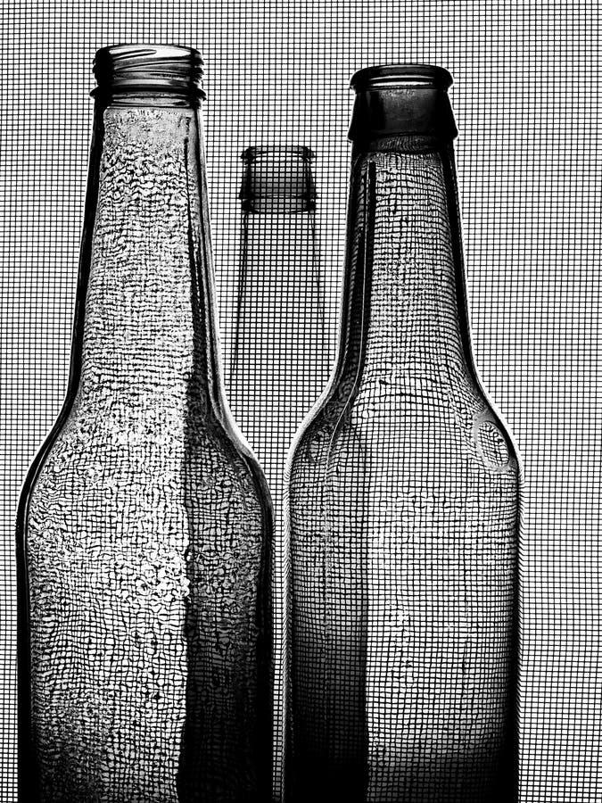 Black & White Beer Bottle Background stock image
