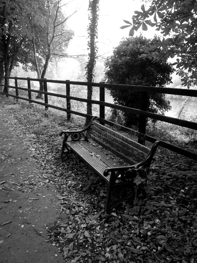 Black and white bench on the street royalty free stock photography